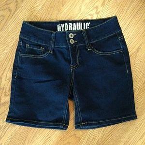 Hydraulic dark wash shorts